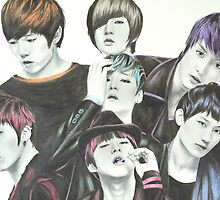 U-Kiss Full Drawing by Shannon Rudder