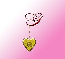 G Golden Heart Locket by Chere Lei