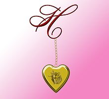 H Golden Heart Locket by Chere Lei