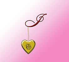 I Golden Heart Locket by Chere Lei