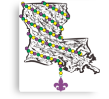 Louisiana State Wrapped in Mardi Gras Beads Canvas Print
