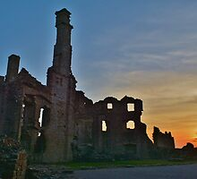 Coity Castle at Sunset by Paula J James