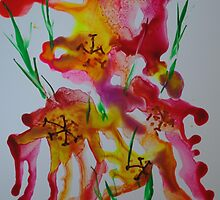 Abstract encaustic flowers by Pat O'Neill