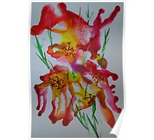 Abstract encaustic flowers Poster