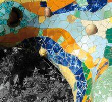 Gaudi Mosaics - Lizard Park Guell Barcelona  Sticker
