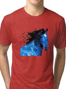 Abstract horse of geometric shape, symbol 2014 Tri-blend T-Shirt
