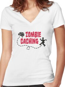 Geocaching - Zombie seeks Brain Women's Fitted V-Neck T-Shirt