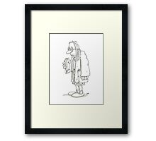 Man with milk carton and bathrobe Framed Print