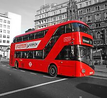 London Bus With B/W in the Strand by Keith Larby