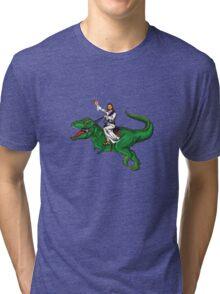 Jesus Riding a Dinosaur Tri-blend T-Shirt
