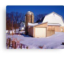 the white barn in winter Canvas Print