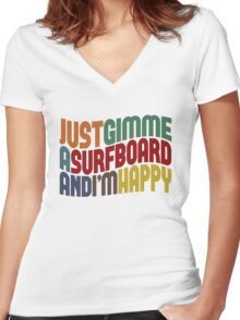 Gimme A Surfboard Women's Fitted V-Neck T-Shirt