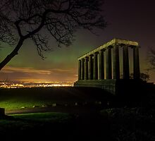 The Northern Lights (Aurora Borealis) from Calton Hill. Edinburgh by Miles Gray