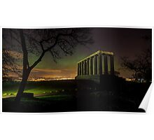 The Northern Lights (Aurora Borealis) from Calton Hill. Edinburgh Poster