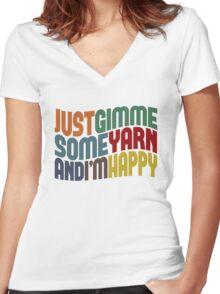 Gimme Some Yarn Women's Fitted V-Neck T-Shirt