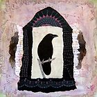 "Raven, ""Waiting for Dawn"", Mixed media Collage by Annie Coe"