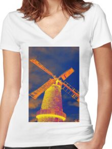 Psychedelic windmill Women's Fitted V-Neck T-Shirt