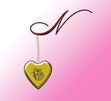 N Golden Heart Locket by Chere Lei