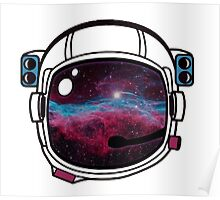 Outer Space Galaxy Astronaut Helmet Poster