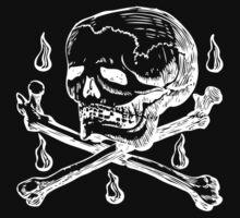 Skull & Crossbones (white on dark) Kids Clothes