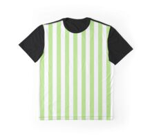 Stripes (Parallel Lines) - White Green Graphic T-Shirt
