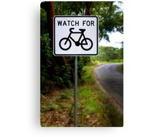 Watch for Bikes Sign Canvas Print