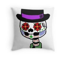 Bowler hat skull Throw Pillow