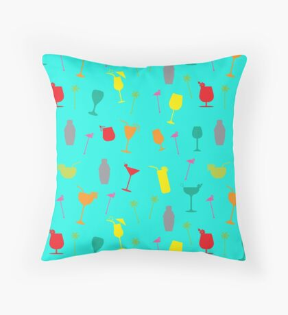 Colourful Summer Cocktails and Twizzlers Retro Pattern Throw Pillow