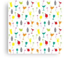Colourful Summer Cocktails and Twizzlers Retro Pattern Canvas Print