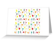 Colourful Summer Cocktails and Twizzlers Retro Pattern Greeting Card