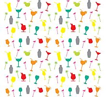 Colourful Summer Cocktails and Twizzlers Retro Pattern Photographic Print