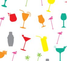 Colourful Summer Cocktails and Twizzlers Retro Pattern Sticker