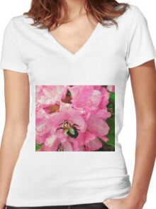 Bumble in Pink Women's Fitted V-Neck T-Shirt