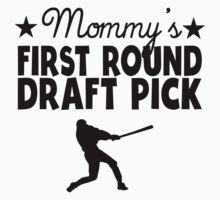 Mommy's First Round Draft Pick Baseball Baby Tee