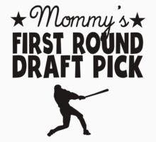 Mommy's First Round Draft Pick Baseball Kids Tee