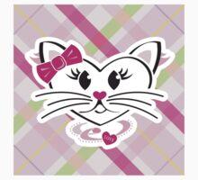 HeartKitty Plaid Love Cat One Piece - Short Sleeve
