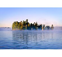 Island in lake with morning fog Photographic Print