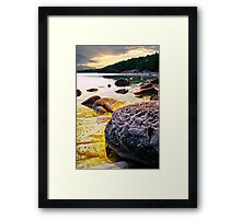 Rocks at shore of Georgian Bay Framed Print