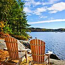 Adirondack chairs at lake shore by Elena Elisseeva