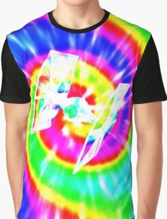 Tie Dye Tie Fighter - white Graphic T-Shirt