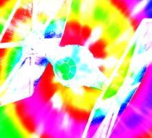 Tie Dye Tie Fighter - white Sticker