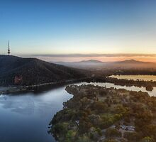 Early morning over Lake Burley Griffin. by candysfamily