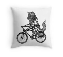 Wolf on a Bike Ride  Throw Pillow
