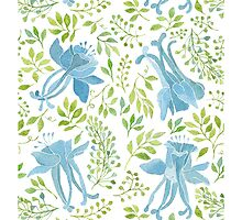 Watercolor leaves and blue flowers pattern by helga-wigandt