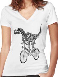 Skeleton Fossil Love Bike  Women's Fitted V-Neck T-Shirt