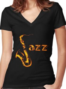 Jazz Time3 Women's Fitted V-Neck T-Shirt