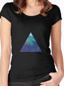 Blue Pyramid landscape geometric Women's Fitted Scoop T-Shirt