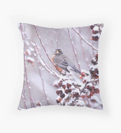 American Robin In Winter Throw Pillow