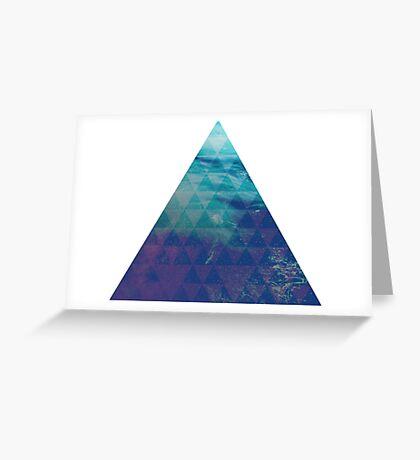 Blue Pyramid landscape geometric Greeting Card