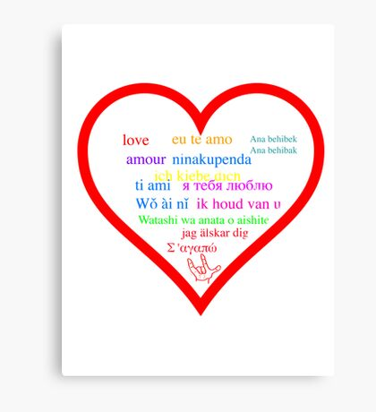 Love in languages Canvas Print